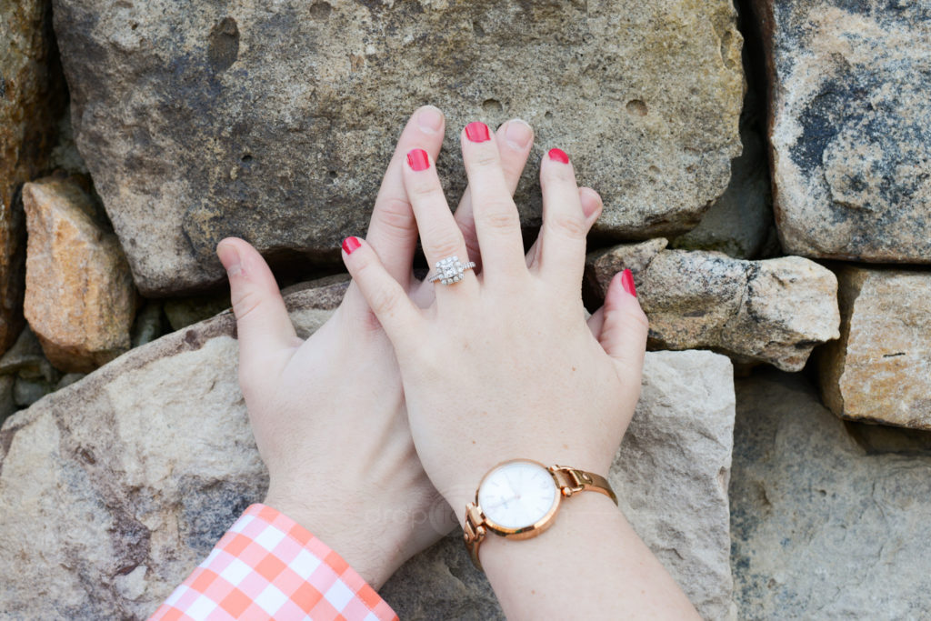 Engagement photos of hands