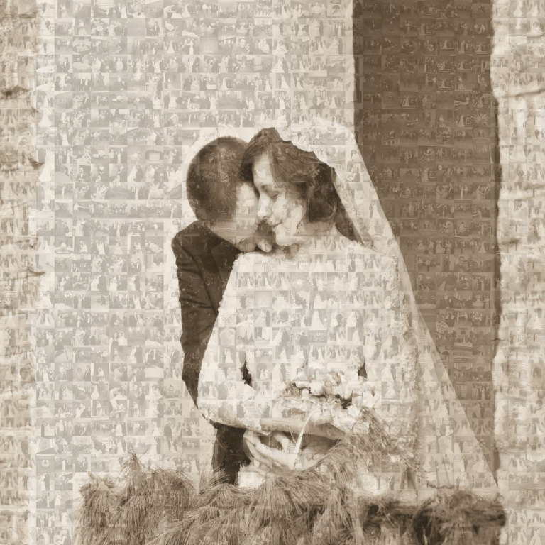 Mosaic of 900 wedding pictures, William and Mary Wren Chapel in Williamsburg